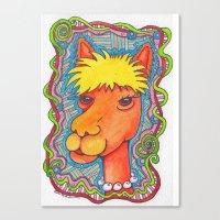 alpaca Canvas Prints featuring Alpaca by bethparkerart