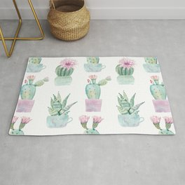 Simply Echeveria Cactus in Pastel Cactus Green and Pink Rug