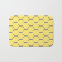 Grey and Yellow Hexagons Bath Mat