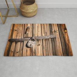 Locked Wood Padlock of Aged Rug