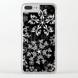 Symbols in Snowflakes on Black Clear iPhone Case