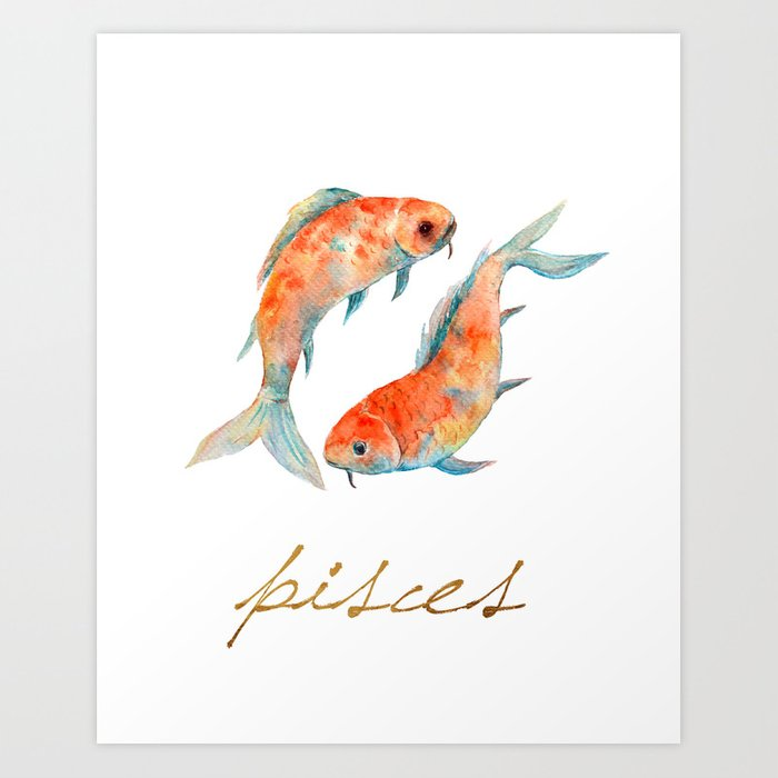 Watercolor pisces koi fish art print by missquoted society6 for Koi fish artwork