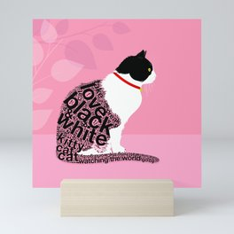 Typographic black and white kitty cat portrait on pink 2 #typography #catlover Mini Art Print