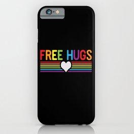Free Hugs LGBT Gay Pride Rainbow Heart iPhone Case