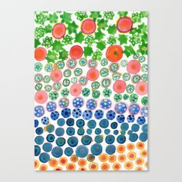 Playful Green Stars and Colorful Circles Pattern Canvas Print