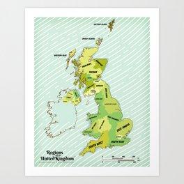 Regions of the United Kingdom Colour version. Art Print