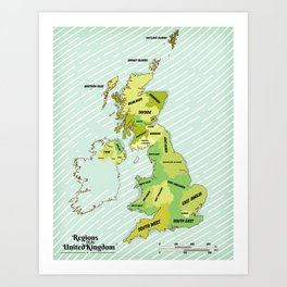 Regions of the United Kingdom Colour version. Art Print