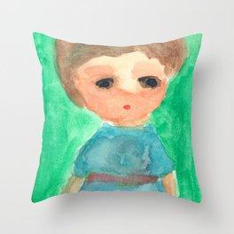 Sleepy Baby Elf in Blue Robe Throw Pillow