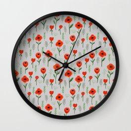 Poppy flower painted floral pattern minimal nursery happy decor gifts Wall Clock