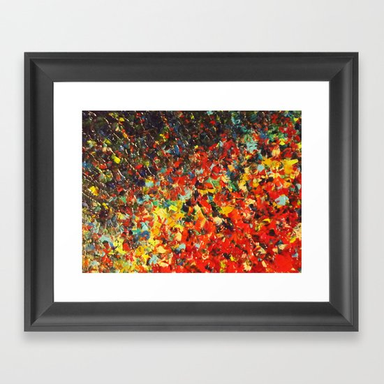END OF THE RAINBOW - Bold Multicolor Abstract Colorful Nature Inspired Sunrise Sunset Ocean Theme Framed Art Print