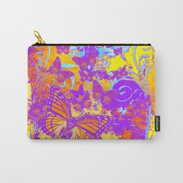 Purple Monarch  Butterflies  Surrealism Yellow Art Carry-All Pouch
