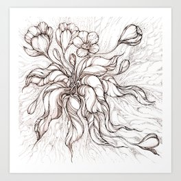 Brown line art hand-drawn crocus Art Print