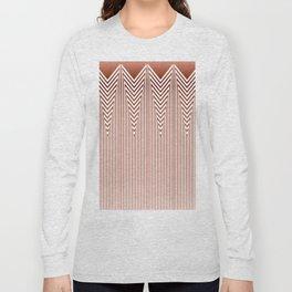 Art Deco Geometric Arrowhead Dusty Peach Design Long Sleeve T-shirt