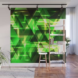 Spring gentle green horizontal strict stripes of sparkling grass triangles. Wall Mural