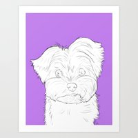 yorkie Art Prints featuring Yorkie by FeliciaR