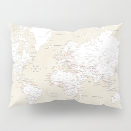 "Cream, white, red and navy blue world map, ""Deuce"" Pillow Sham"