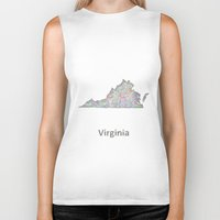 virginia Biker Tanks featuring Virginia map by David Zydd