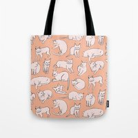 picasso Tote Bags featuring Picasso Cats by leah reena goren