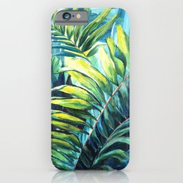 Tropical hand painted palms iPhone Case