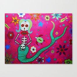 MEXICAN MERMAID DIA DE LOS MUERTOS PAINTING Canvas Print