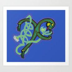 Medieval Frog Letter X Blue 2017 Art Print