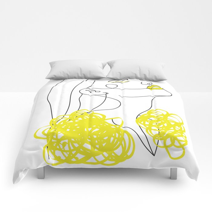 Abstract Line Illustration, Minimal Face Drawing In Lines, Printable Yellow Fashion Sketch. Comforters