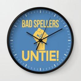 BAD SPELLERS UNTIE! (Blue) Wall Clock