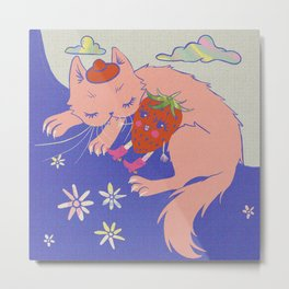 Pink Kitten with a Strawberry Retro 60s Psychedelic Art Metal Print