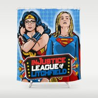 justice league Shower Curtains featuring Justice  by Vague