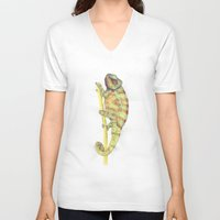 chameleon V-neck T-shirts featuring chameleon by merry