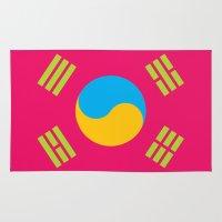 korea Area & Throw Rugs featuring Neon Nation SOUTH KOREA by T.K.O.