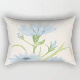 Watercolor Garden Flower Blue Cornflower Wildflower Rectangular Pillow
