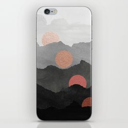 Abstract Mountains // Shades of Black and Grey Landscape Full Metallic Gold Moon iPhone Skin