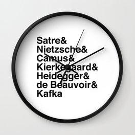 Helvetica Existentialists Wall Clock