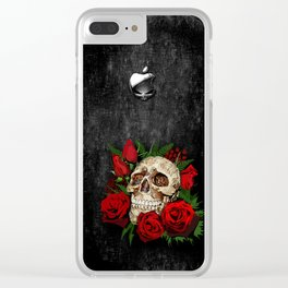 Red Rose Sugar skull Clear iPhone Case