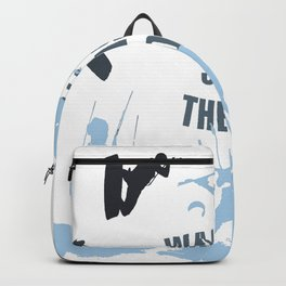 Wake Up Seas The Day Kiteboarder In Teal Shades Backpack