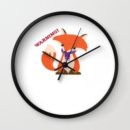 Warning Sarcastic Fox Canidae Carnivore Canine Mammal Animals Wildlife Gift Wall Clock