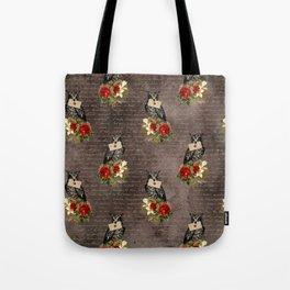 Vintage Owl Messenger, Owl letter Tote Bag