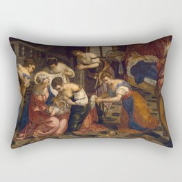 "Tintoretto (Jacopo Robusti) ""Birth of St John the Baptist"" Rectangular Pillow"