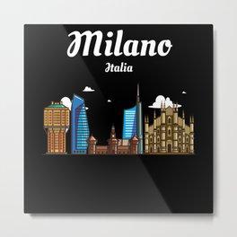 Milano Italia / Milan - Skyline Of The City Of Metal Print