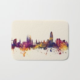 Barcelona Spain Skyline Bath Mat