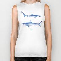 sharks Biker Tanks featuring Sharks by Alina Bachmann