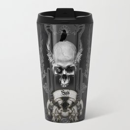 Awesome skull with crow, black and white Travel Mug