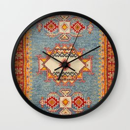 Moroccan 19th Century Authentic Colorful Baby Blue Vintage Patterns Wall Clock