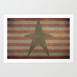 Patriotic Grunge Star on Stripes Art Print