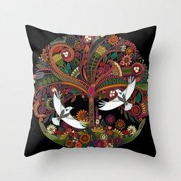 tree of life black Throw Pillow