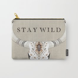 Stay Wild quote, Bison Skull, animal skull, boho skull, california wild, wild, rancher, boho animal Carry-All Pouch