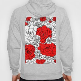 White & Red Rose Bush Hoody