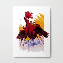North Korea Propaganda. Construction Metal Print