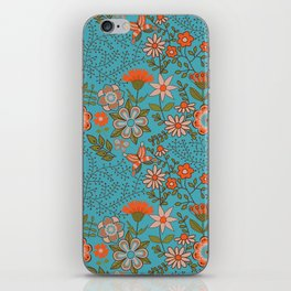 Fantasy Floral in Blue and Orange iPhone Skin